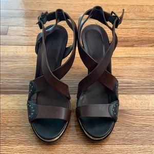 Women's DKNY platform brown heels size 6.
